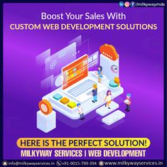 Boost your sales with custom web development solutions Here is the perfect solution ! Milkyway Services | Web development . Call ☎️ at : +91-9015-799-394 For more information about service visit our site right now- . . #development #websitedevelopment #webdevelopment #website #websitedesign #webdesign #developer #designing #technology #ecommerce #creative #design #software #softwaredevelopment #startup #business Parallax Website, Creative Design, Web Design, Website Design Company, Software Development, Ecommerce, Technology, Business, Tech