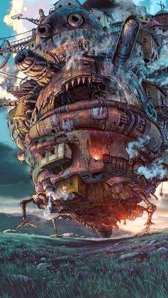 Wallpaper Animes, Anime Scenery Wallpaper, Animes Wallpapers, Studio Ghibli Art, Studio Ghibli Movies, Totoro, Howls Moving Castle Wallpaper, Howl's Moving Castle, Studio Ghibli Background