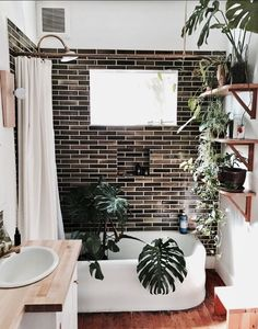 Oooo brown subway tiles bathroom white wood green