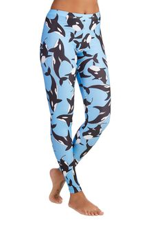 Fresh Take Leggings in Orca. Indulge in cool style with these whale-printed leggings! #blue #modcloth