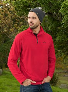 Portwest Ben Microfleece - Red MP50 A lightweight, soft microfleece with a quarter zip, the Ben makes for a perfect base layer and looks great on its own. #portwest #westport #ireland #outdoor #mensfleece #microfleece #hiking #walking