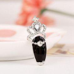Diamond Crown Joint Nail Glaze Ring