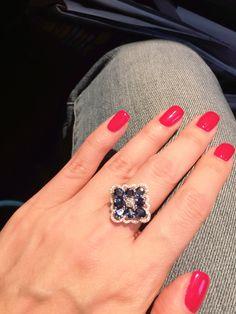 Sapphire and diamond ring , very feminine design