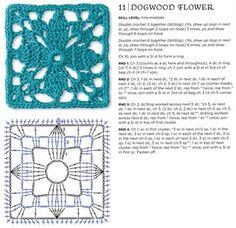 Dogwood flower crochet granny square pattern