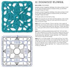 Dogwood flower crochet granny square pattern, very nice: thanks so for share xox
