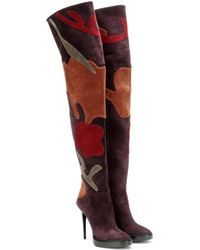Burberry | Appliquéd Suede Over-the-knee Boots | Lyst