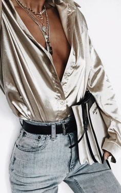 metallics + denim