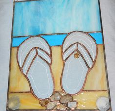 0635aa96527ec1 Stained Glass Beach Scene with Flip Flops
