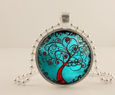 Teal and red Tree Of Life glass and metal Pendant necklace Jewelry. McKee Jewelry Designs