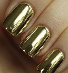 gold chrome nails