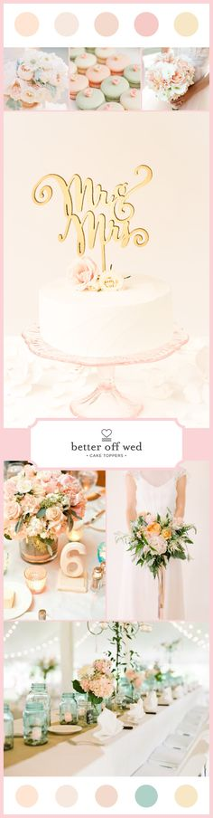 Blush and Peach Wedding. Cake topper by Better Off Wed. www.betteroffwed.co