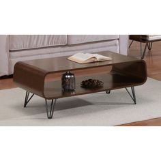 Rectangular Coffee Table with Storage Area Side Table with Under Storage Shelf Room Décor End Table Brown Cocktail Table Furniture Table Top TV Table Coffee Table With Stools, Walnut Coffee Table, Coffee Table With Storage, Modern Coffee Tables, Black Furniture, Furniture Styles, Furniture Deals, Table Furniture, Living Room Furniture