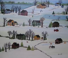 Snow Day   Folk art painting  Grandma Moses by JennysOriginals11, $295.00