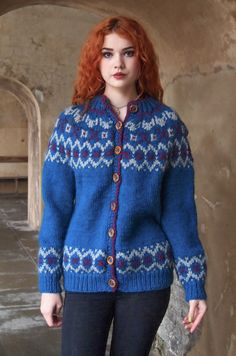Stunning shade of blue especially with the model's red hair.