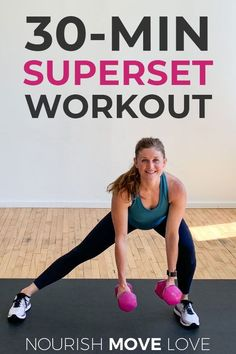 LEGS, BUTT, ARMS   CORE -- we're targeting them all in this 30-minute FULL BODY workout! This is a superset workout, which means we'll work each muscle group to fatigue before moving on to the next exercise. It's a challenging total body burner I think you'll love!