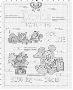 quadretto nascita disney      assemblato su richiesta utilizzando diversi schemi presenti in varie riviste di molti anni fa          ...