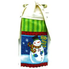 This cheery snowman dish towel is colorful and bright and brings a touch of holiday cheer to any kitchen. A cream topper adorns the top of the