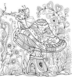 Garden Coloring Pages, House Colouring Pages, Coloring Pages For Grown Ups, Adult Coloring Book Pages, Printable Adult Coloring Pages, Coloring Pages To Print, Free Coloring Pages, Coloring Sheets, Coloring Books