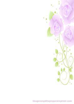 folios decorados con rosas lilas
