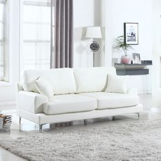Madison Home Ultra Modern Plush Bonded Leather Living Room Sofa with Chrome Leg Detail White. Furniture Pattern: Solid. Type: Sofa. Material: Faux Leather.