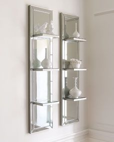 mirror decor Mirrored Shelf Wall Panel - antiqued, beveled galss is framed in silver finished wood. Wall Mirror With Shelf, Mirror Shelves, Wall Mirror Ideas, Mirror Collage, Mirror Art, Mirrored Floating Shelves, Wall Of Mirrors, Jeep Mirrors, Big Mirrors