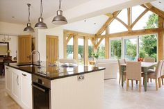 How Your Oak Extension Can Make You Money! Thinking to renovate your home, checkout these house design ideas on Architectures Ideas for financing of the extension. Even oak extension are showcased. Open Plan Kitchen Living Room, Barn Kitchen, Diy Kitchen Decor, Kitchen Upstairs, Kitchen Orangery, Conservatory Kitchen, Orangery Extension Kitchen, Cottage Extension, House Extension Design
