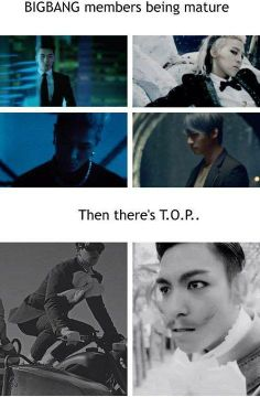 Bigbang members being mature on their solo comeback . and then ... there's TOP xD haha ♡ #BIGBANG