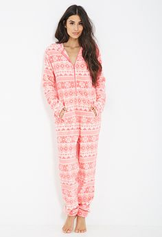 Plush Fair Isle Onesie | FOREVER21 - 2055878534 pink, small or XS if possible