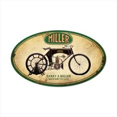 a125710727ad30 Past Time Signs FRC057 Miller Motorcycles Motorcycle Oval Metal Sign