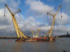 Cranes on a barge off Rochester riverside [shared]