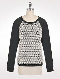 Crochet Front Sweatshirt | Dressbarn $38