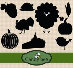 Commercial or Personal Use - 296 Thanksgiving Turkey, Thanksgiving Recipes, Silhouette Clip Art, Pilgrim, Vector Design, Silhouettes, Bee, Commercial, Kids Rugs