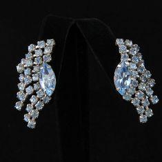 Vintage Coro Pale Blue Fringe Climber Clip Earrings