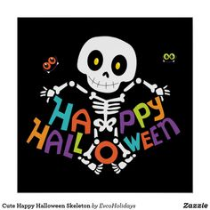 Shop Happy Halloween Funny Skeleton Square Sticker created by Personalize it with photos & text or purchase as is! Halloween Night, Spooky Halloween, Halloween Themes, Halloween Pumpkins, Halloween Crafts, Happy Halloween, Funny Halloween, Halloween Stuff, Moldes Halloween