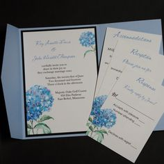 Blue Hydrangea pocketfold wedding by CarlinCardCreations on Etsy