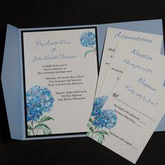 Blue Hydrangea pocketfold wedding by CarlinCardCreations on Etsy