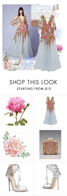 """Marchesa Flowery Dress"" by farrahdyna ❤ liked on Polyvore featuring Marchesa, Monique Lhuillier and thanksgiving"