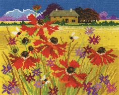 DMC counted cross stitch kit. Includes 14ct aida, pre-sorted DMC stranded cotton, charts and full instructions. Uses cross stitch, backstitch and french knots. 32 colours.  - Available from Johnson Crafts http://www.johnsoncrafts.co.uk/seasonal-landscapes-autumn-pasture.html