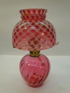 Vintage Miniature Oil Lamp Cranberry Opalescent Glass Tiny Coin Dot Optic Shade | eBay
