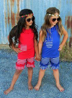 Stripe Short Set - RED