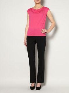 Cowl neck jersey top cap sleeve Pink