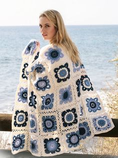 Beautiful Seaside Blue Handmade Afghan Crochet Blanket with Flowers, made to order, granny square blanket, organic 100 percent cotton yarn A lovely soft 100% cotton crocheted Afghan with granny squares by Drops Design. My blankets are hand crocheted and made to order in a lovely