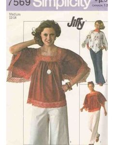70s Pullover Tops with Angel and Raglan Sleeves Sewing Pattern Miss Med 12-14 Simplicity 7569MMi Uncut