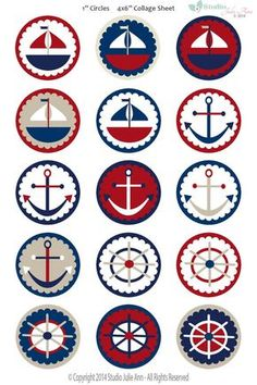 Nautical Sailing Digital Collage Sheet Sailboat Anchor Wheel One inch Bottle Caps Digital Clipart Red White Blue Navy Tan JPG PDF Printable Sailor Party, Sailor Birthday, Nautical Party, Bottle Cap Images, Bottle Caps, Digital Collage, Collage Sheet, Baby Boy Shower, Sailing