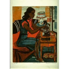 Title: Girl Sewing Artist: Bernard P. Schardt Year: 1935-1942 Classification: print Medium: color woodcut Dimensions: 13 15/16 x 11 1/8 in. (35.4 x 28.3 cm) Credits: Allocated by the U.S. Government Works Progress Administration, Federal Art Project, 1935 - 1943 Location: University of Michigan Museum of Art