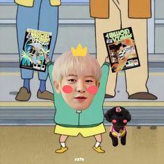 Exo Cartoon, Cute Cartoon Characters, Cartoon Jokes, Fictional Characters, Tao Exo, Park Chanyeol, Chanyeol Cute, Baekhyun, Foto Bts