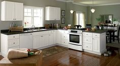 IF we paint cupboards white AND all the trim white, this is a great color combination. Love the floor.
