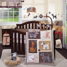 """""""Woof"""" Nursery Collection from Lambs & Ivy.  Love the different patterns and the different dogs - cute but not something you see everyday."""