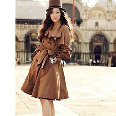 Women 's Korean OL Style Tailor Collar Solid Color Long Sleeve Long Coat - USD $ 35.39
