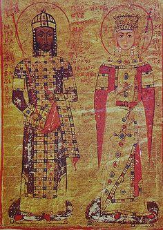 Мануил I Комнин (1143-1180) със съпругата си Мария Антиохийска Ватиканска библиотека